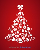 Christmas Icons Tree Vector Card illustration