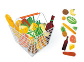 Fruits and vegetables and shopping baskets 04 - vector mater