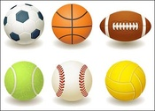 Football, basketball, rugby, tennis, baseball, volleyball