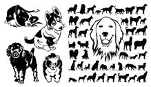 Black and white dog silhouettes