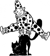 Clown Jumping Over Cat