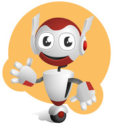 Robot Vector Character on a Wheel