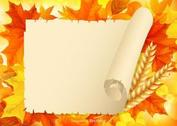 Free Autumn Leaves With Old Paper Scroll
