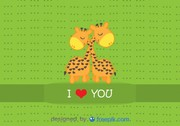 Giraffes hugging - Cartoon vector card