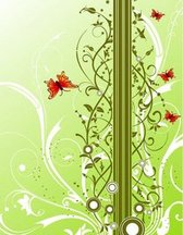 Fresh Background with Floral and Butterflies