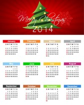 Christmas Calendar for 2014 Year