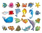 Set Vector Cartoon animaux marins