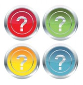 4 Glossy Question Mark Icon Buttons