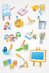 Painter Tools Vector Icons: Paint Brush & Painting Canvas (Free)