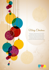 Christmas Greeting Card Template With Colorful Christmas Balls