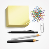 Post-it note, penna, matita & graffetta vettoriale Set (gratuito)