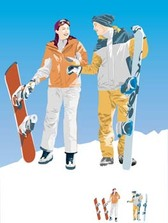 Snow boarding vector 1