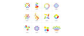 8 Colorful Shapes Style Logos Set