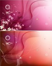 Dynamic Wavy Line and Floral Background