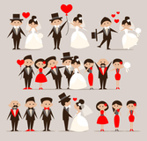 5 cartoon bride and groom