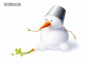 Cute Snowman with Carrot & Hat