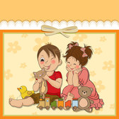 Cute cartoon style children's card design