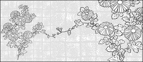 Vector line drawing of flowers-37(Chrysanthemum, background)