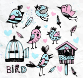 8 water painted birds and cage Vectors