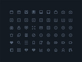 54 Flat Stroke Web Icons Vector Pack