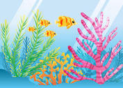 Bright Coral Reef with Fish