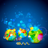 Decorative Baubles on Blue Abstract Background