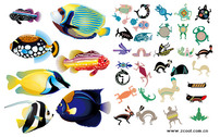 Realistic and abstract animal fish