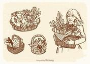 Free Vector Drawn Old Baskets With Food