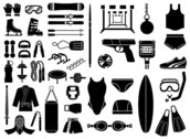 Various Sketch Elements Of Vector Graphic - Sports Equipment, Equipment Type (51 Elements)