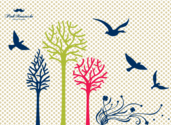 Free Vector Set: Trees, Flowers and Birds Silhouettes