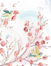 Pastel flowers and birds background