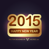 2015 Gold Sticker New Year Background