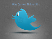 Blue Cartoon Twitter Bird