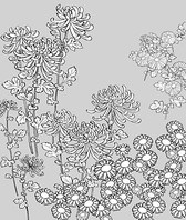 Japanese line drawing of plant flowers vector material -27 (