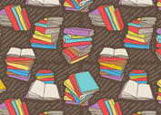 Free Hand Drawn Vector Stack of Books Seamless Pattern