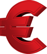 Red Euro Sign PSD