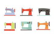 Colorful Vintage Sewing Machine Vectors