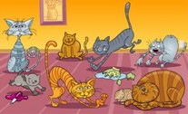 Dog and cat cartoon animals
