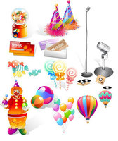 Candy, Coupon,Balloon,Pierrot and Microphone