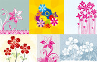 Vector material 6 hand-painted flowers