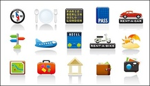 Travel icon set vector subject material