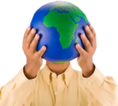 hands holding earth PSD