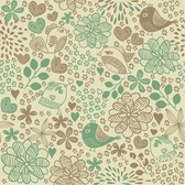 Vögel in Blumen romantisch Seamless Pattern