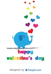Elephant and colorful hearts - Vector card with cartoon