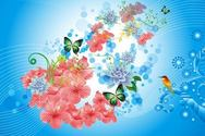 Spring Flower Background with Lines and Bird