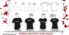Male and Female models T-shirt template free
