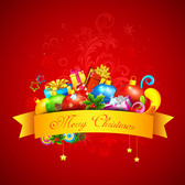 Decorative Xmas Gift Pack on Red Background
