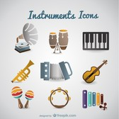 Vector retro music instruments set