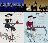 Beauty And The Cartoon Character Silhouette - Vector Beauty Illustration Elegant
