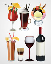 Coctail, Wine Glass and Ice Cream Vector Set (Free)
